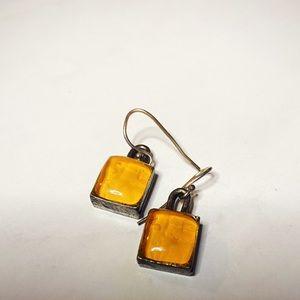 Dainty Orange Dangle Earrings